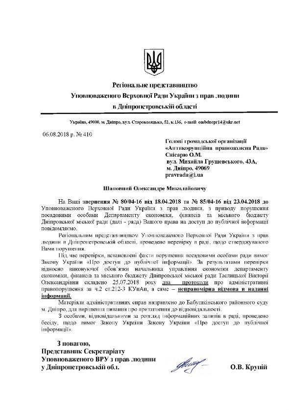 Притягнення до відповідальності керівника управління дніпровської міськради за порушення інформаційного законодавства